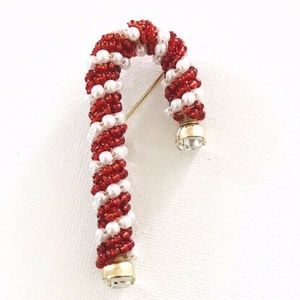 Mariam Haskell | Candy Cane Pin Christmas Brooch